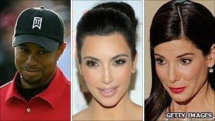 Tiger Woods, Kim Kardashian and Sandra Bullock