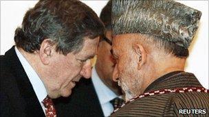 Afghanistan President Hamid Karzai and Richard Holbrooke, 2009 file image