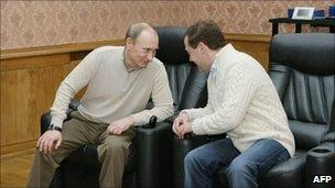 Vladimir Putin and Dmitry Medvedev. Photo: December 2010