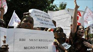Protests against microfinance companies in India