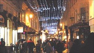St Helier at night over Christmas