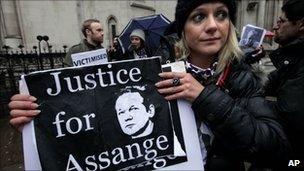 An Assange supporter