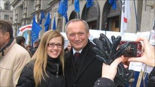 Presidential candidates Vladimir Neklyayev with supporter in Minsk