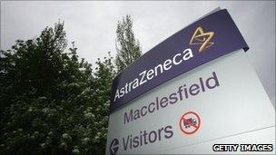 AstraZeneca sign outside its Macclesfield plant