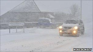 Snow in Princetown. Picture: Mike Kinsey