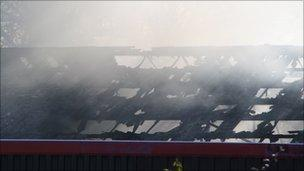 The roof has been badly damaged