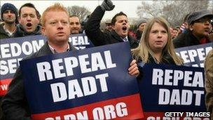 """Activists rally for the repeal of the """"don't ask, don't tell"""" policy in Washington, DC, 10 December"""
