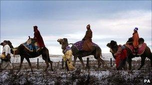 Three wise men on camels at Carstairs village