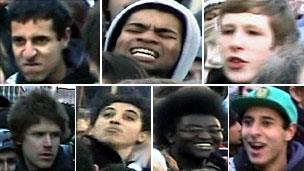Images of people police wish to talk to over the demonstration on 9 December