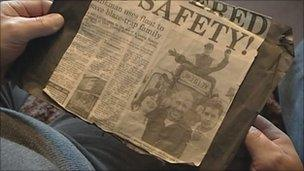 Newspaper cutting after the 1990 fire