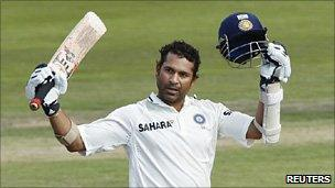 Sachin Tendulkar after scoring his 50th 100 in Test cricket