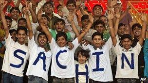 Sachin Tendulkar fans at a cricket match