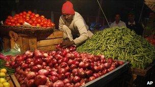 Indian vegetable trader in Allahabad on 21 December 2010