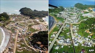 Aerial view of Calang in Aceh province, taken 3 August 2005 (L) and the same area taken 14 December 2007