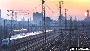 Sunrise over railway lines outside Munich station