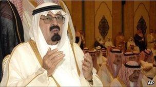 King Abdullah during Eid prayers in Mecca, Saudi Arabia (Sept 2010)