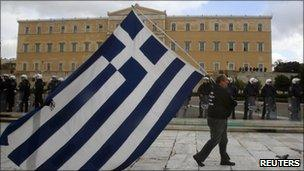 Greek protester in Athens