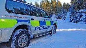 Police car in snow