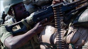 A soldier serving with the African Union mission in Somalia