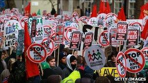 Tuition fee protest in London on 9 December