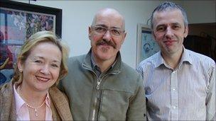 Pauline Ross and Niall McCaughan, Playhouse, with patron Griff Rhys Jones