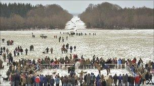 People gather to see hounds in Gloucestershire