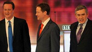 The party leaders after one of the TV debates