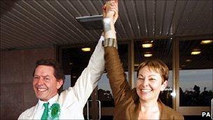 Caroline Lucas and husband celebrate her victory