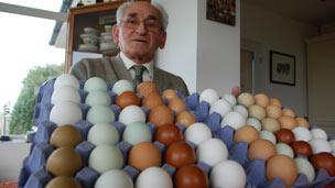 Mr Simmons with some of his multi-coloured eggs