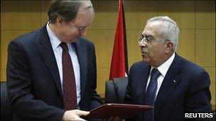 Palestinian Prime Minister Salam Fayyad and EU Representative Christian Berger