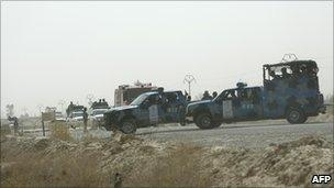 Iraqi security forces at the main entrance to Camp Ashraf (July 2009)
