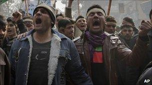 Afghan demonstrators shout anti-Iran slogans during a protest in Kabul, Afghanistan on Friday, Jan. 7, 2011.