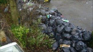 Bin bags piled up at Brookfield Road, Birmingham