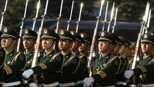 Members of the Chinese Army in Beijing, 10 Jan 2011
