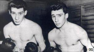 The Kray twins in their boxing gear