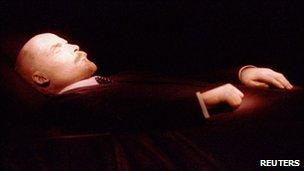 File picture of Vladimir Lenin's body inside his mausoleum on Red Square in Moscow