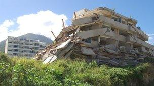 A collapsed building in town of Los Corales, Vargas today