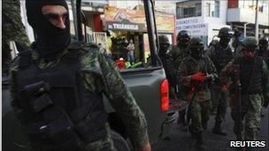 Troops in Michoacan after a shootout between soldiers and suspected members of La Familia