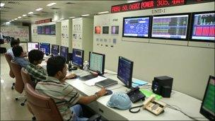 Control room at power station