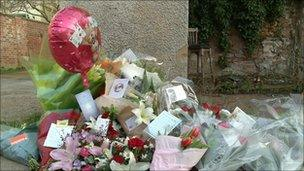Flowers and tributes at the murder scene