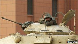 A tank in Tahrir Square, Cairo, 7 February 2011