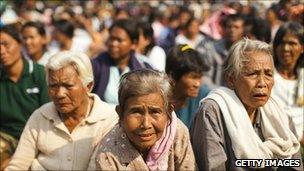 Thai villagers gather in Sisaket, Thailand