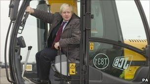 Boris Johnson in yellow digger