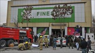 The site of the supermarket bomb blast in Kabul