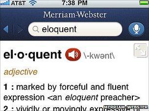 Merriam-Webster user interface