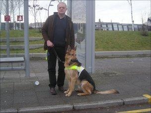 Ian and Renton at a bus stop