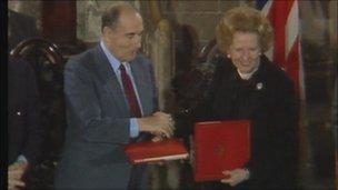 Francois Mitterrand and Margaret Thatcher