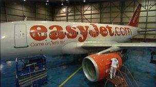 Man applying new coating to Easyjet plane