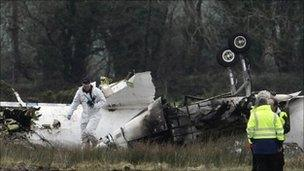 Wreckage of aircraft