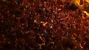 Crowds in Tahrir Square celebrate - 11 February